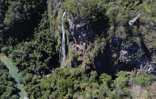 Vista aérea cachoeira Boca da Onça Bonito MS Brasil Bonito Incomparável Fotógrafo VisitMS