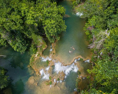 Passeio Estância Mimosa - Vista aérea matas e cachoeira Bonito MS